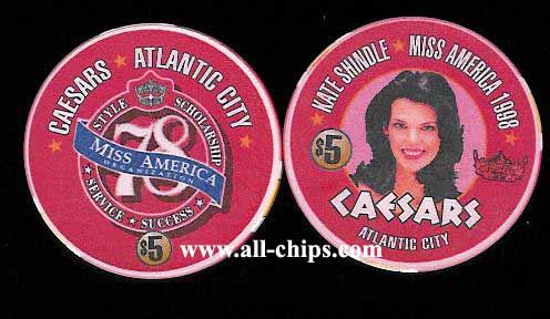 CAE-5ab $5 1998 Caesars Miss America Kate Shindle